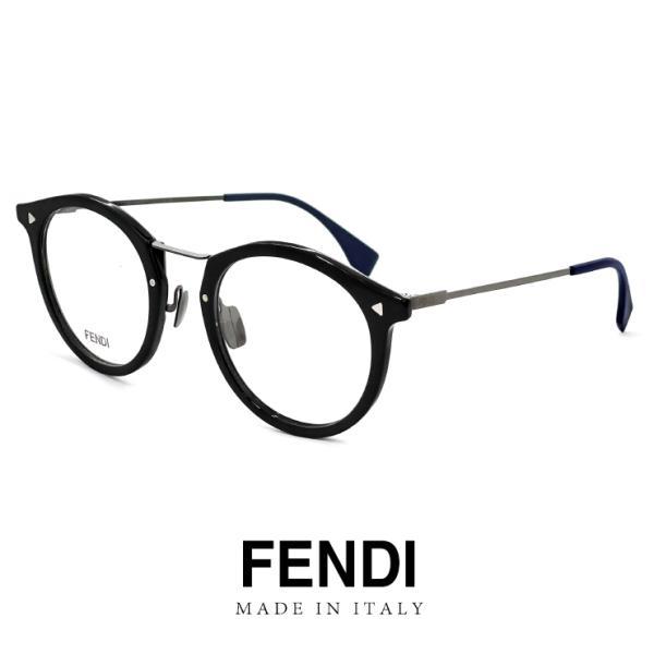 FENDI フェンディ メガネ ffm0050-ans ボストン 眼鏡 FF M0050 丸メガネ 黒縁 黒ぶち フレーム 丸眼鏡