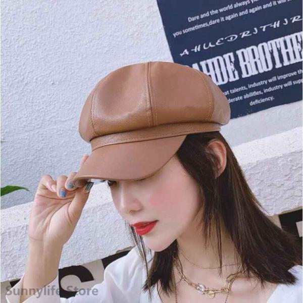 キャスケットベレー帽帽子PU帽子レディース無地キャップ小顔効果おしゃれかわいい女性春秋冬防寒上品紫外線対策きれいめ