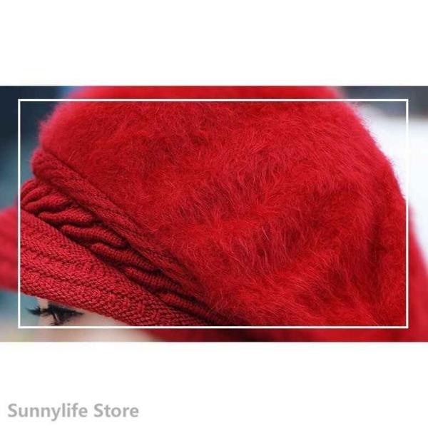 キャスケットニット帽帽子レディースふわふわファーニットキャップベレー帽キャップぼうし秋冬シンプル無地代引不可