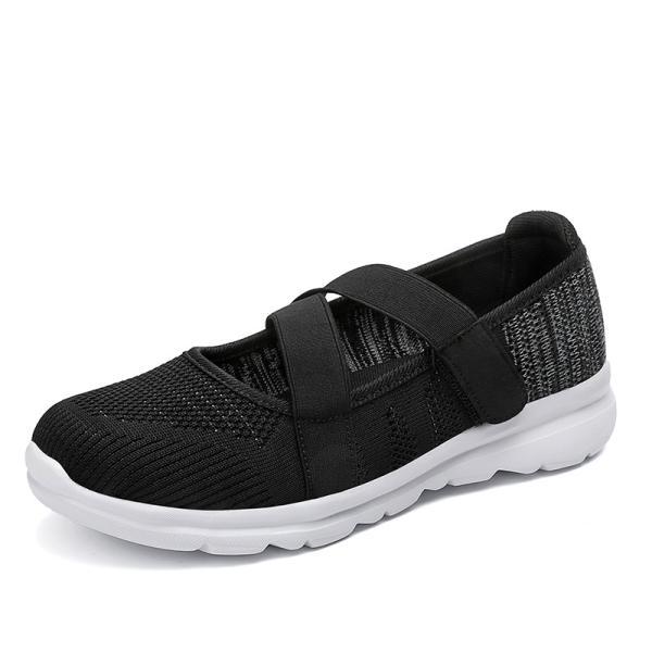 レディース靴スニーカーメッシュ素材バンド付き夏通気性厚底ベルクロフラットシューズ軽量通気性靴おしゃれ歩きやすい