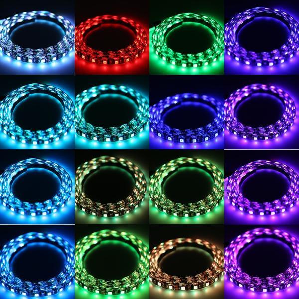 防水 高輝度フルカラー RGB 3chip 5050 SMD LEDテープライト 5m/300連 リモコン付 黒/白ベース 連結式 正面発光 両面テープ、ケーブル付属で簡単取り付け!|sunpie|06