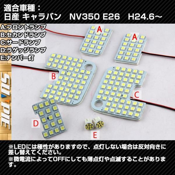 日産 キャラバン NV350 E26専用 LED ルームランプ セット CARAVAN 室内灯 3チップ SMD 7点 487発相当 取付工具付 1年保証|sunpie|05