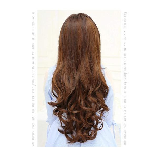 DEEKA U型ハーフウィッグ ロング 巻き髪 クリップ エクステ 5色選べ 55cm (dbダークブラウン)