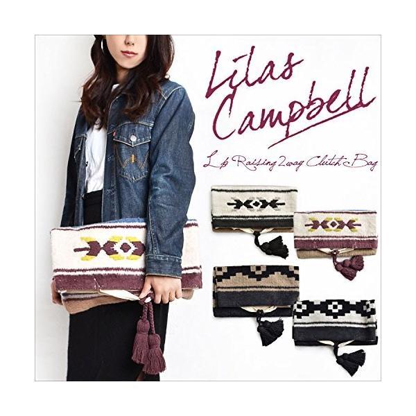 (リラ キャンベル) Lilas Campbell クラッチ 2WAY クラッチバッグ ボヘミアン フリンジ タッセル レディース キャンバ