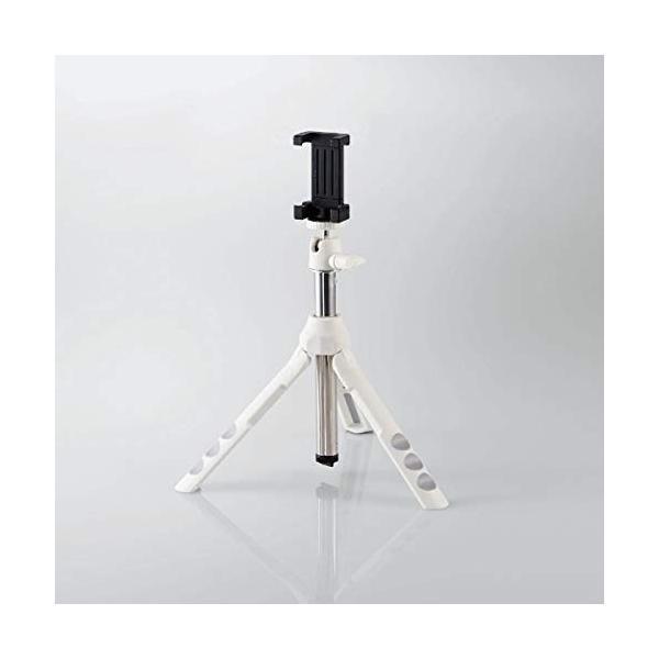 エレコム 三脚 スマホ コンパクト 三脚 自撮り棒 長さ調整可能な2wayタイプ ホワイト P-STSWH