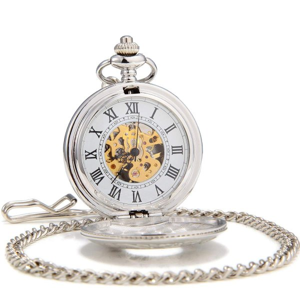 SEWOR機械式,手巻き ダブルオープンスケルトン アンティーク調 カービング ローマ数字高品質懐中時計