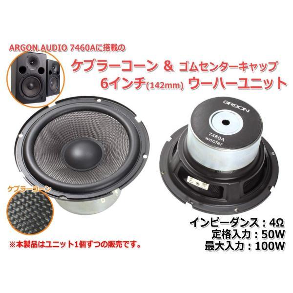 ARGON AUDIO 7460Aに搭載のケブラーコーン&ゴムセンターキャップ 6インチ(142mm)ウーハーユニット 4Ω/MAX100W
