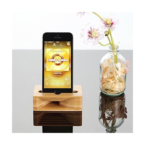 WENQIU スマホスピーカー スマホスタンド スマホ置き 収納スタンド おしゃれな天然竹 電気を使わないスピーカー