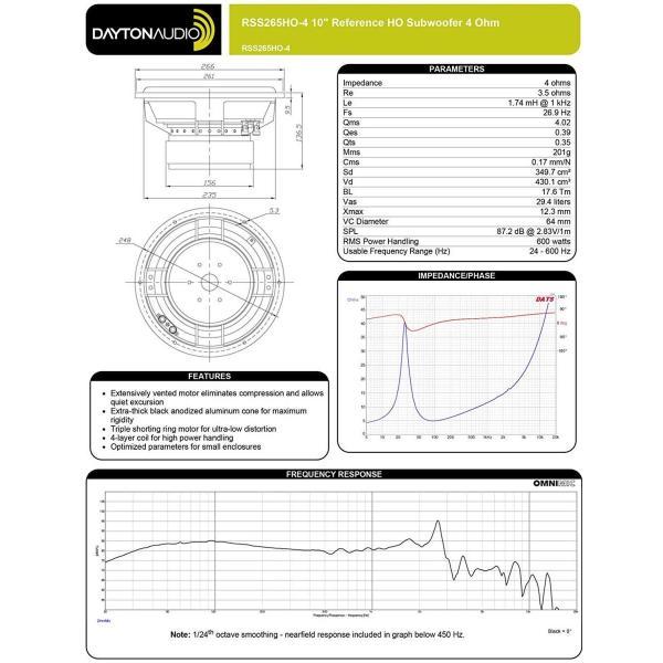 国内正規品Dayton Audio RSS265HO-4 REFERENCEシリーズ 26.5cm 高性能 HO サブウーファー 4Ω