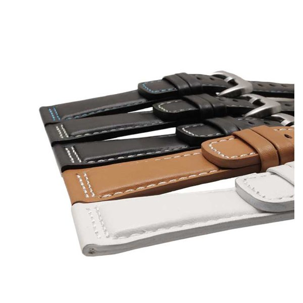 エイト腕時計ベルト 28mm ブラックホワイト-ステンレス尾錠 レザー ELB086 並行輸入品