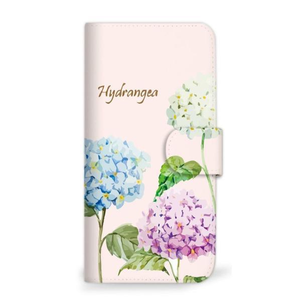 mitas AQUOS sense SHV40 ケース 手帳型 アジサイ あじさい 紫陽花 花 花柄 花がら フラワー ピンク (358)