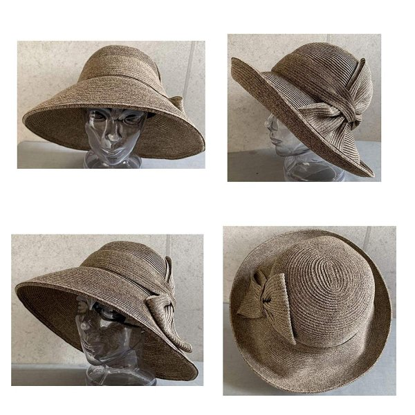 no brand ( カラー : ブラウン ) 帽子 Cheer チアー アンダリ グランデ リボン ハット つば広 HAT UV対策 UV|sunrise-eternity|04
