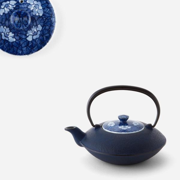 南部鉄器&清水焼 貞雲 染付椿詰 鉄瓶急須(小)