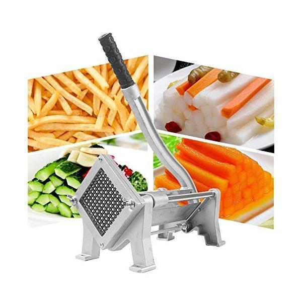 Hanchen ポテトカッター 8mm+10mm+12mmカット 手動式 省力化ロングハンドル 食品級ステンレス製 卓上型 家庭用 業務用