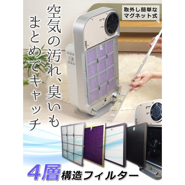 空気清浄機 13畳 花粉 PM2.5対応 HEPAフィルター 静音 一人暮らし コンパクト マイナスイオン 埃 タバコ 一人暮らし Sunruck SR-AC802-WH|sunruck-direct|05