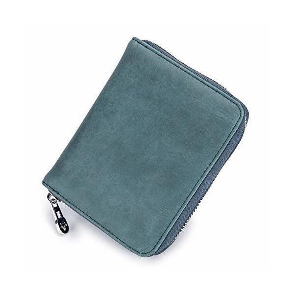 カードケース 大容量 短財布 レザー ラウンドファスナー - クレジットカードホルダー ジャバラ クレジット 48枚収納 磁気防止 小銭入れ牛本革