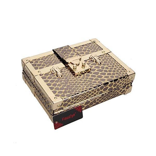 (ファウジーヤ) Fawziya 蛇柄 結婚式 レディース パーティーバッグ クラッチバッグ-ゴールド