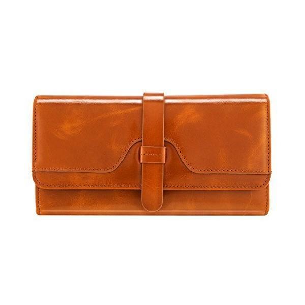 レディース三つ折り長財布 押しボタン式 小銭入れ付き 超大容量 レザー 本革財布 ブラウン