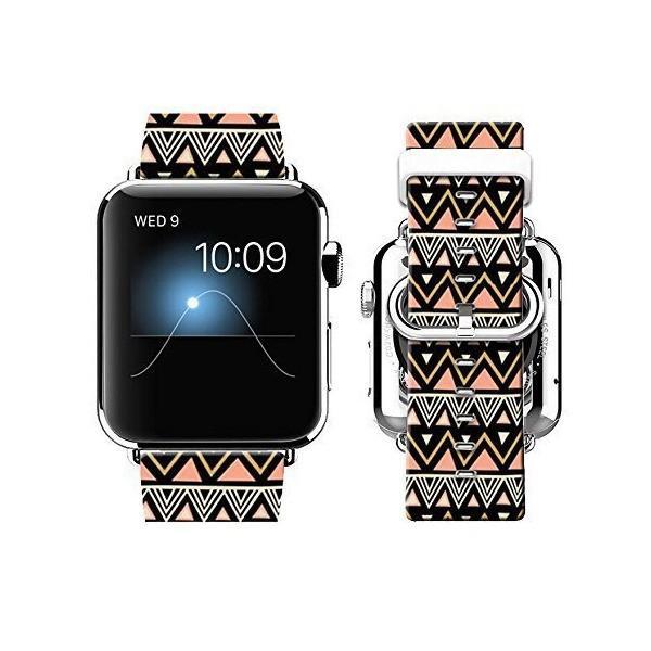 腕時計用ウォッチバンド Apple Watch 38mmモデル用 レザー100% ステンレス製留め具使用(カメリア柄) WATCH38-AOO (