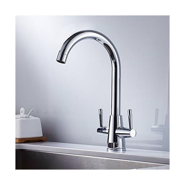 18e5d9ff284b0 Wellbeingjp キッチン用水栓 2ハンドル 高い 混合水栓 洗面用水栓 クローム混合栓 ...