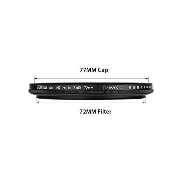 ZOMEIウルトラスリムnd2-nd400 Fader可変中立密度調節可能なレンズフィルタ超スリムNDフィルタ光学ガラス  72 mm + WIN