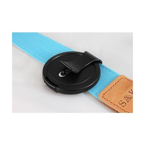 SAAKI(サキ)カメラストラップ + キャップクリップ パステル・デニム ネックストラップ + レンズキャップクリップ (ターコイズ) 一眼レフ・