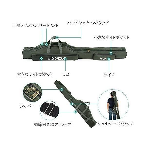 Lixada フィッシングバッグ ポータブル 釣りロッド 釣り竿 ツール収納袋ロッドケース タックルバッグ 100/130/150cm (150cm