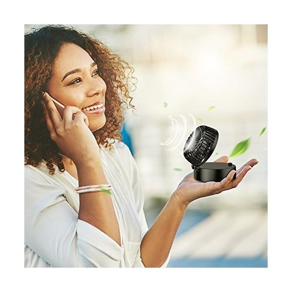 EasyAcc 携帯扇風機 LG2600mAh 首かけ扇風機 折り畳み式 携帯ファン 超静音 超強力 手のひらサイズ mini小型 ストラップ付き|sunsetcandle|03