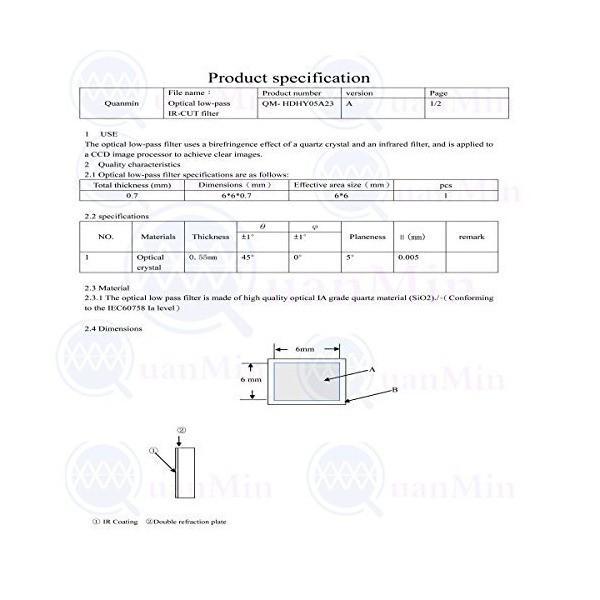 Quanmin 100個/1ロット6mm×6mm×0.55mm 650nm IRカットカットフィルター角型光学ローパス赤外線ブロックフィルター カメ