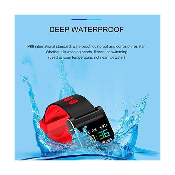 KTYX カラースクリーンのスマートなブレスレットIP68の防水心拍数の血圧の監視歩数計の睡眠のリマインダーの動き スマートウォッチ (色 : Re