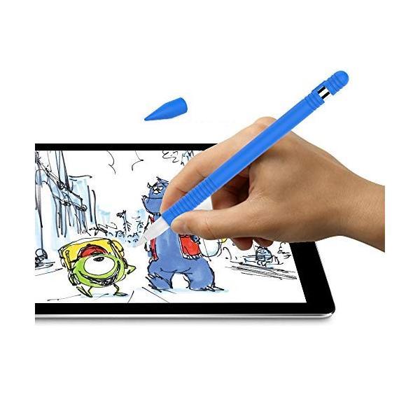 Apple Pencil用シリコンケース 滑り止めスキンスリーブ iPad Proペン ボディチップキャップアダプターカバー (ブルー)|sunsetcandle|04