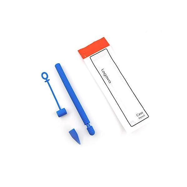 Apple Pencil用シリコンケース 滑り止めスキンスリーブ iPad Proペン ボディチップキャップアダプターカバー (ブルー)|sunsetcandle|05