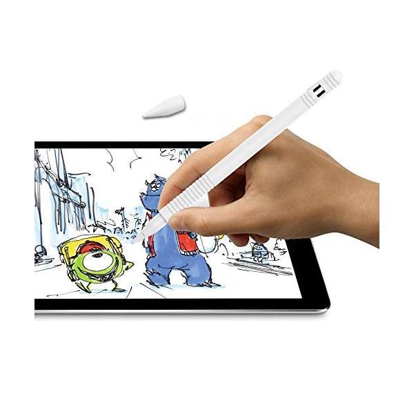 Apple Pencil用シリコンケース 滑り止めスキンスリーブ iPad Proペン ボディチップキャップアダプターカバー (ホワイト)|sunsetcandle|04