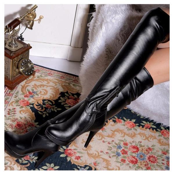 ロングブーツ レディース 靴 ハイヒール ロングブーツ  ブーツ 美脚 ファッション セクシー 大きいサイズ 脚長効果 ファスナー ラウンドトゥ