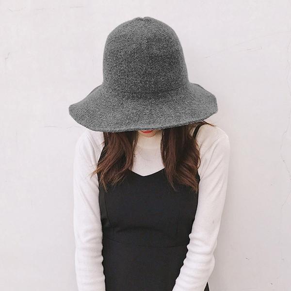 ニット帽子 レディース 折りたたみ つば広帽子 小顔効果 無地 防寒 ぼうし 秋冬【ネコポス可】