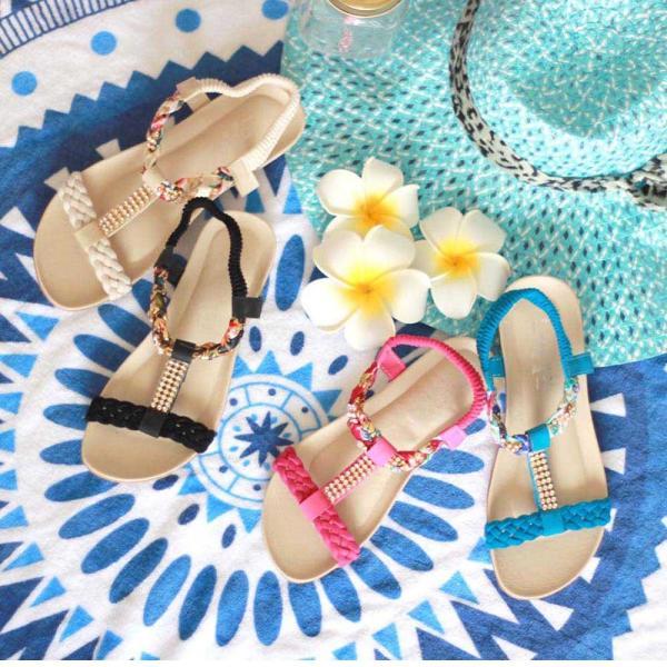 ビーチ サンダル ビジュー 花柄 ストラップサンダル ぺたんこ 歩きやすい ボヘミア風サンダル