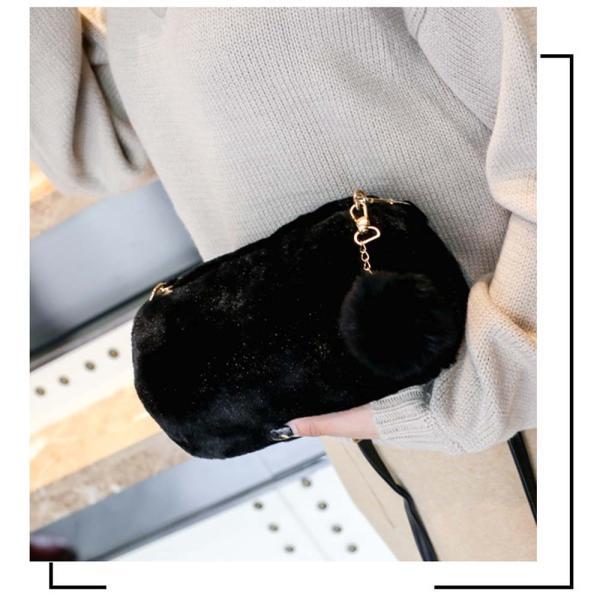 ファーバッグ ショルダーバッグ 斜めがけバッグ ファーチャーム付き ファーポンポン