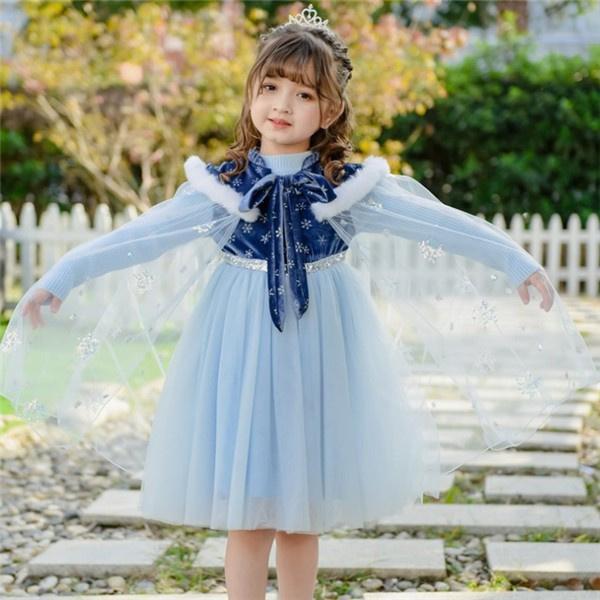 お姫様 2点セット アナ エルサ風 ドレス プリンセスドレス キッズ 子供ドレス 雪の女王風 ワンピース コスプレ パーティー イベント ギフト
