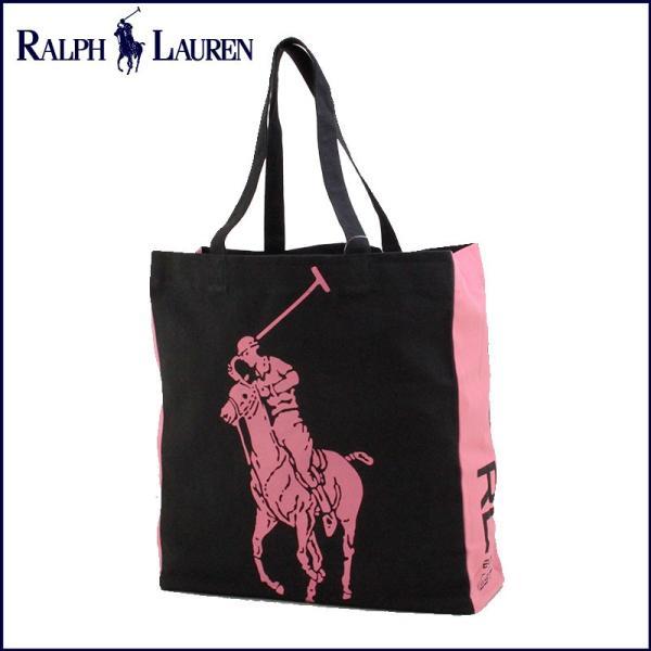 RALPH LAUREN ラルフローレン ビッグポニー トートバッグ エコトート エコバッグ ブラック×ピンク ホワイトデー