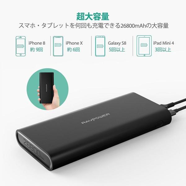 モバイルバッテリー RAVPower 26800mAh USB-C 急速充電 (デュアル入力、3台同時充電) iPhone / iPad / Android / 2015 MacBook 等対応|sunvalley-brands-jp|03