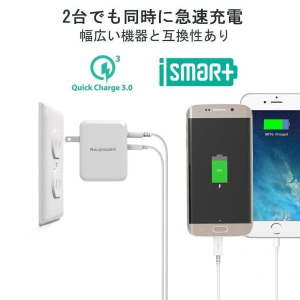 Quick Charge 3.0 急速充電器 RAVPower 30W 2ポート USB充電器 ( 急速充電 iSmart出力自動判別 ) sunvalley-brands-jp 03