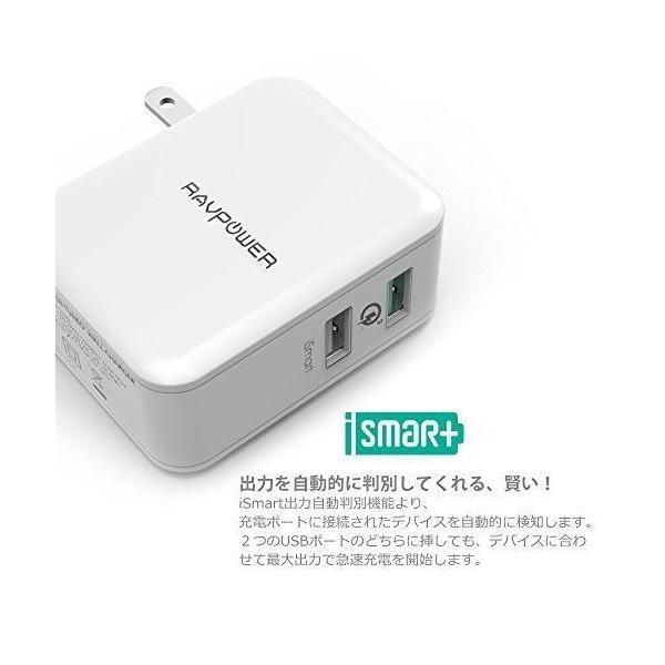 Quick Charge 3.0 急速充電器 RAVPower 30W 2ポート USB充電器 ( 急速充電 iSmart出力自動判別 ) sunvalley-brands-jp 04