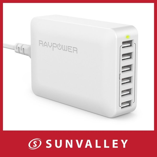 RAVPower USB充電器 (60W 6ポート) USB コンセント 急速 iPhone / iPad / Android 等対応|sunvalley-brands-jp