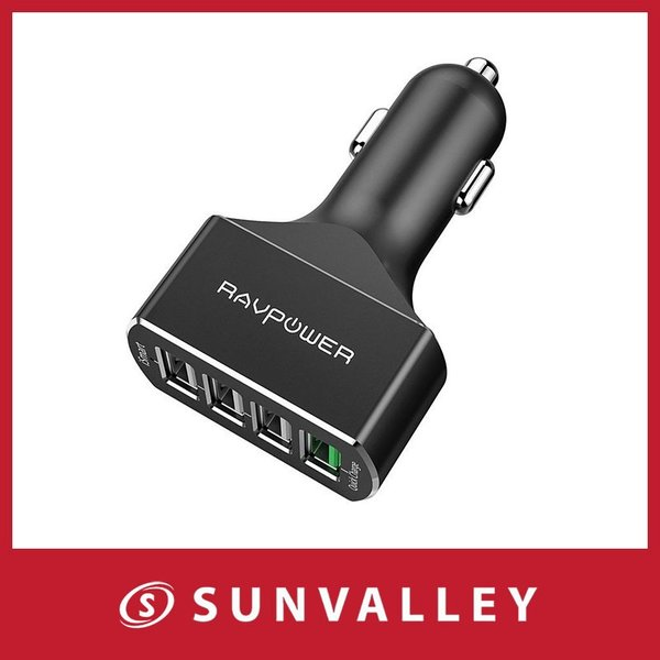 Quick Charge 3.0 USBカーチャージャー RAVPower 54W 4ポート 車載充電器 急速充電 iPhone iPad Android スマホ タブレット 対応 sunvalley-brands-jp