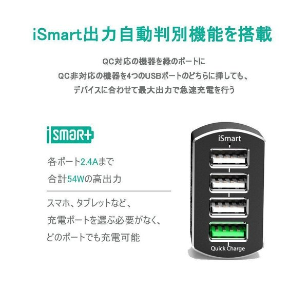 Quick Charge 3.0 USBカーチャージャー RAVPower 54W 4ポート 車載充電器 急速充電 iPhone iPad Android スマホ タブレット 対応 sunvalley-brands-jp 04