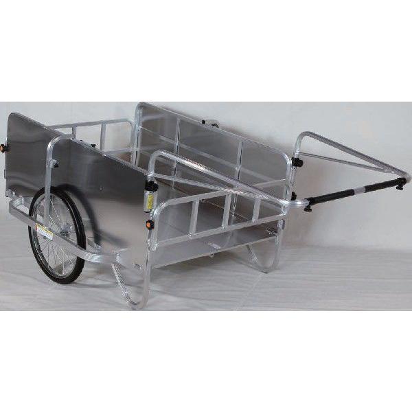 折りたたみリヤカー 大型 側面パネル付 アルミ製 エアータイヤ HC-1208A リアカー|sunward|02