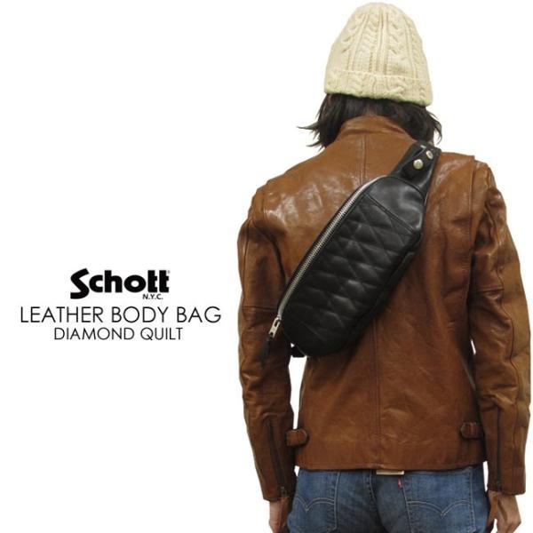 Schott ショット ダイヤモンド・キルトステッチ オールレザー・ボディバッグ(ウェストバッグ)