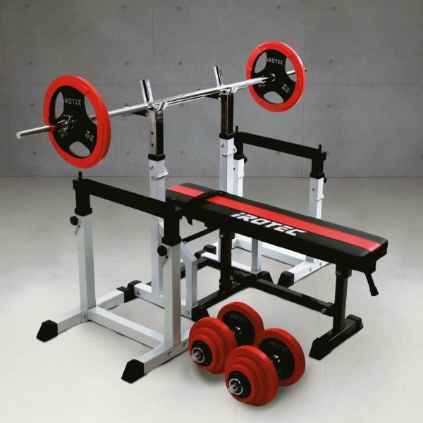 ベンチプレスセット IROTEC(アイロテック)ビルドアップコンポR70/バーベル ダンベル トレーニング器具 筋トレ トレーニングマシン|super-sports