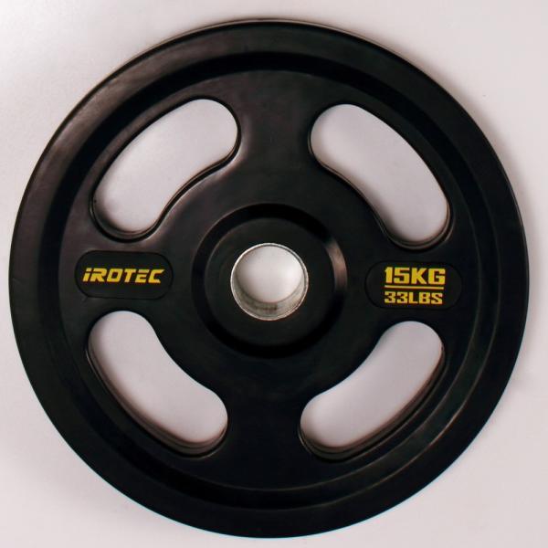 バーベル プレート IROTEC(アイロテック)オリンピック プレート 15KG 穴径50mm/ ダンベル バーベル ベンチプレス トレーニング器具 筋トレ トレーニングマシン