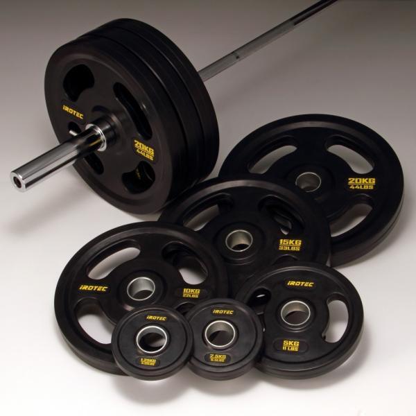 バーベルセット IROTEC(アイロテック)オリンピックラバーバーベル 214KGセット/ベンチプレス 筋トレ パワーラック トレーニング器具 スミスマシン